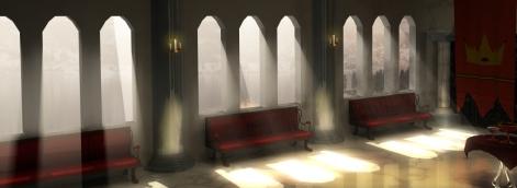 Slottssal med solstrålar